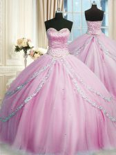Lilac Ball Gowns Sweetheart Sleeveless Tulle With Train Court Train Lace Up Beading and Appliques Sweet 16 Dresses