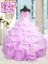 Sumptuous Lilac Sleeveless Floor Length Beading and Ruffles Lace Up Quince Ball Gowns