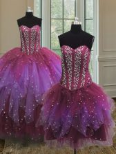 Exquisite Three Piece Multi-color Vestidos de Quinceanera Military Ball and Sweet 16 and Quinceanera with Beading and Ruffles and Sequins Sweetheart Sleeveless Lace Up