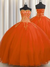 Superior Really Puffy Sleeveless Floor Length Beading Lace Up Quince Ball Gowns with Red