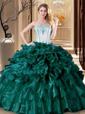 Traditional Floor Length Turquoise 15 Quinceanera Dress Organza Sleeveless Ruffles and Ruffled Layers