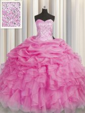 Cute Rose Pink Ball Gowns Organza Sweetheart Sleeveless Beading and Ruffles Floor Length Lace Up Quinceanera Dress
