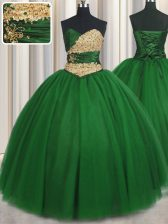 Fitting Sweetheart Sleeveless Sweet 16 Quinceanera Dress Floor Length Beading and Appliques Green Tulle