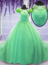 Scoop Green Short Sleeves Tulle Court Train Lace Up Sweet 16 Dress for Military Ball and Sweet 16 and Quinceanera