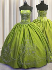 Embroidery Ball Gowns Quinceanera Dresses Olive Green Strapless Taffeta Sleeveless Floor Length Lace Up