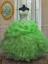 Sleeveless Beading and Ruffles and Pick Ups Floor Length Sweet 16 Dress