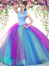 Tulle High-neck Sleeveless Backless Beading Quinceanera Dress in Multi-color