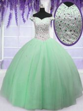 Fancy Off the Shoulder Apple Green Lace Up 15 Quinceanera Dress Beading Sleeveless Floor Length