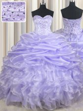 Luxurious Lavender Organza Lace Up Sweetheart Sleeveless Floor Length 15th Birthday Dress Beading and Ruffles and Pick Ups