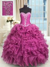 Rose Pink Sleeveless Organza Lace Up Quinceanera Dresses for Military Ball and Sweet 16 and Quinceanera