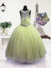 Pretty Organza Scoop Sleeveless Zipper Beading Girls Pageant Dresses in Apple Green