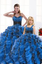 Royal Blue Lace Up 15 Quinceanera Dress Beading and Appliques and Ruffles Sleeveless Floor Length