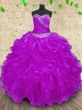 Elegant Purple Halter Top Neckline Beading and Ruffles and Ruching Sweet 16 Quinceanera Dress Sleeveless Lace Up