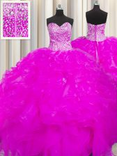 Wonderful Visible Boning Beaded Bodice Beading and Ruffles Quinceanera Gown Fuchsia Lace Up Sleeveless Floor Length