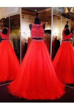 Scoop Floor Length Coral Red Prom Dress Organza Sleeveless Beading