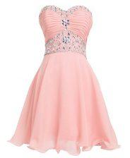 Nice Mini Length Pink Homecoming Dress Organza Sleeveless Beading and Belt