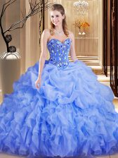 Cheap Lavender Sweetheart Neckline Embroidery and Ruffles and Pick Ups Ball Gown Prom Dress Sleeveless Lace Up