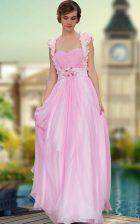 Beautiful Floor Length Rose Pink Homecoming Dress Sweetheart Sleeveless Zipper