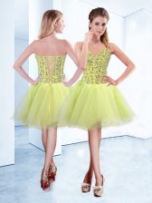 Excellent Organza Sleeveless Knee Length Prom Dresses and Beading
