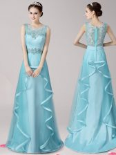 Artistic Scoop Aqua Blue Satin and Tulle Zipper Homecoming Dress Sleeveless With Brush Train Appliques and Ruffles