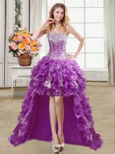 Custom Designed Sequins A-line Dress for Prom Purple Sweetheart Organza Sleeveless High Low Lace Up