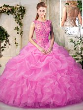 Simple Rose Pink Ball Gowns Organza Scoop Sleeveless Beading and Ruffles and Pick Ups Floor Length Lace Up 15 Quinceanera Dress