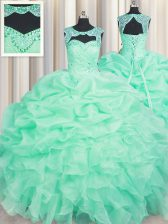 Scoop Floor Length Lace Up Sweet 16 Dress Apple Green for Military Ball and Sweet 16 and Quinceanera with Beading and Ruffles and Pick Ups
