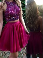Classical Scoop Fuchsia Sleeveless Mini Length Beading Zipper Evening Dress