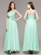 Unique Apple Green Sleeveless Chiffon Zipper Prom Evening Gown for Prom