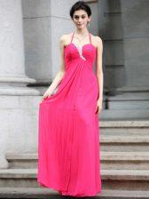 Hot Pink Column/Sheath Halter Top Sleeveless Chiffon Floor Length Zipper Beading Prom Dress