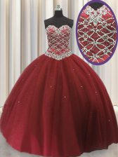 Dazzling Tulle Sweetheart Sleeveless Lace Up Beading and Sequins Sweet 16 Quinceanera Dress in Red