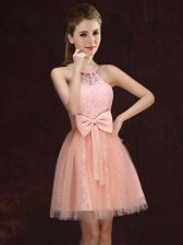 Free and Easy Peach A-line Tulle and Lace Halter Top Sleeveless Lace and Bowknot Mini Length Lace Up Quinceanera Court Dresses