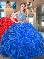 Designer Halter Top Royal Blue Two Pieces Beading and Ruffled Layers 15th Birthday Dress Backless Organza Sleeveless Floor Length