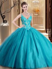 Nice Teal Sleeveless Tulle Lace Up Sweet 16 Dresses for Military Ball and Sweet 16 and Quinceanera
