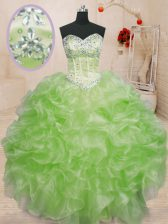 Sweetheart Sleeveless Lace Up Quinceanera Gown Organza