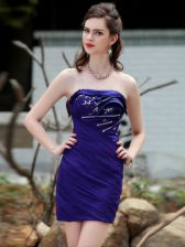 Superior Mini Length Backless Homecoming Dress Royal Blue for Prom and Party with Beading and Ruching