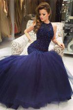 Mermaid Scoop Sleeveless Beading Backless Evening Dress