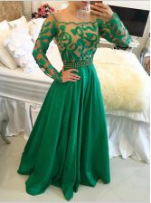 Admirable Green A-line Taffeta Scoop Long Sleeves Beading and Appliques Floor Length Side Zipper Homecoming Dress