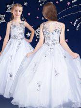 Simple Scoop Sleeveless Zipper Floor Length Beading Flower Girl Dresses for Less