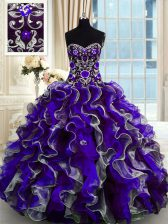 New Style Organza Sweetheart Sleeveless Lace Up Beading and Ruffles Ball Gown Prom Dress in Multi-color