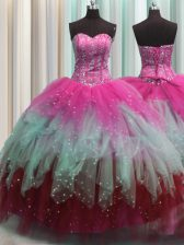 Discount Visible Boning Ball Gowns Quinceanera Gown Multi-color Sweetheart Tulle Sleeveless Floor Length Lace Up