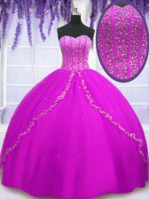 Fuchsia Sleeveless Tulle Lace Up 15 Quinceanera Dress for Military Ball and Sweet 16 and Quinceanera