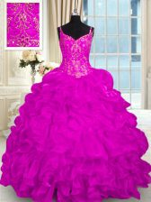 Fashionable Fuchsia Organza Lace Up Spaghetti Straps Sleeveless 15th Birthday Dress Brush Train Beading and Embroidery and Ruffles
