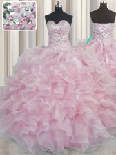Bling-bling Pink Lace Up Sweetheart Beading and Ruffles Quinceanera Dress Organza Sleeveless