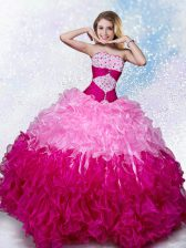 Beauteous Multi-color Lace Up Quinceanera Gowns Beading Sleeveless Floor Length