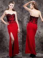 Red Zipper Sweetheart Beading and Appliques Dress for Prom Elastic Woven Satin Sleeveless