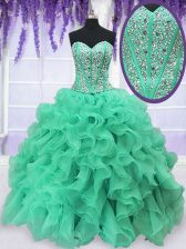 Wonderful Turquoise Sweetheart Neckline Beading and Ruffles Quinceanera Dresses Sleeveless Lace Up