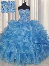 Visible Boning Baby Blue Ball Gowns Beading and Ruffles Sweet 16 Dress Lace Up Organza Sleeveless Floor Length