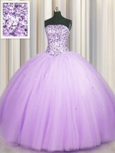 Really Puffy Lavender Tulle Lace Up Quinceanera Dresses Sleeveless Floor Length Beading and Sequins