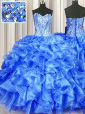 Glittering Blue Sleeveless Organza Lace Up 15th Birthday Dress for Military Ball and Sweet 16 and Quinceanera